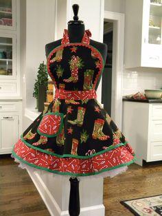 Holly Jolly Boots Christmas Flounce Apron by MyEmptyNestDesigns, $40.50