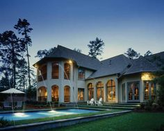 Eplans French Country House Plan - Elegant and Effortlessly Fun - 4629 Square Feet and 4 Bedrooms from Eplans - House Plan Code Sweet Home Design, Dream Home Design, My Dream Home, House Design, Dream Homes, French Country House Plans, European House Plans, Beautiful Pools, French Chateau