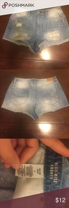 Aeropostale-size 8-high waisted cut off shorts ✨ Cute high waisted cut off shorts with distressing, super flattering and cute light wash style. ✨💕 Bought them from another posher and they just don't fit quite right on me. ❤️ wonderful quality and super cute cut! All offers considered! Aeropostale Shorts Jean Shorts