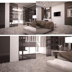 Diferentes vistas de una misma habitacion: closet, cama