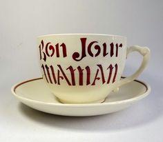 Very large cup and saucer T G Green with Bonjour by MaisonMaudie