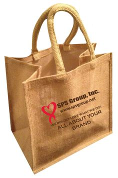 Jute Tote - Burlap Tote (custom printed with logos, messages, wedding monograms, etc.) #jute, #burlap, #jutetotes