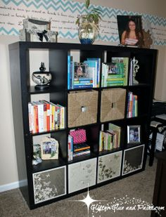 Ikea Expedit Makeover with Mod Podge and Paper!  Quick, easy, inexpensive and totally customizable... loove it!  DIY by Glitter Glue and Paint.