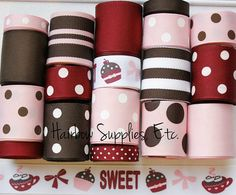 MTMG Sweet Treats Cupcakes 18 yard Grosgrain Ribbon Lot by HairbowSuppliesEtc