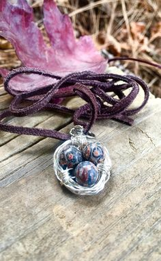Bird's Nest Necklace•Three Eggs Pendant•Wire Wrapped Jewelry•For Mom•Gift For Her