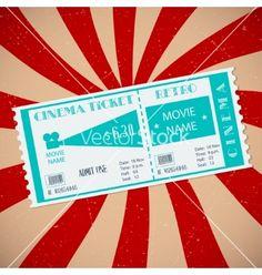 Retro cinema ticket vector 2087477 - by dacascas on VectorStock®