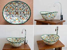 Floral - MEX 7 Aufsatzwaschbecken oval aus Mexiko von Mexambiente