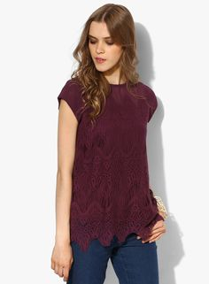 Wills Lifestyle Purple Solid Blouse for Women@looksgud #Wills Lifestyle #Purple