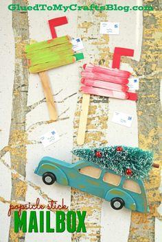 Popsicle Stick Christmas Mailbox - Kid Craft Idea