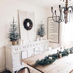 Mini Christmas Tree, Christmas Lights, Christmas Holidays, Christmas Decorations, Holiday Decorating, Xmas, Painted Furniture, Diy Furniture, Dining Room Inspiration