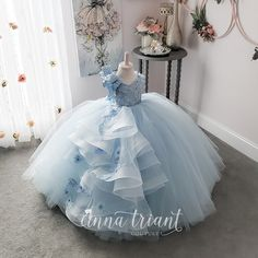 Elegance Powder Blue Gown by Anna Triant Couture Elegance Powder Blue Gown by Anna Triant Couture Princess Flower Girl Dresses, Baby Girl Party Dresses, Princess Dress Kids, Dresses Kids Girl, Birthday Dresses, Baby Dress, Kids Outfits, Little Girl Gowns, Gowns For Girls