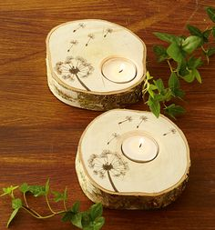 Dandelion, wood candle holder