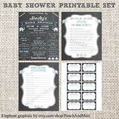Chalkboard Baby Shower Printable Set - Chalkboard Sign + Baby Shower Game + Wishes for Baby + Diaper Raffle Tickets