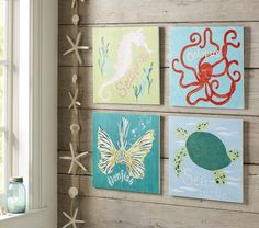 Surf Sea Art Plaques | Pottery Barn Kids- this is what I want for their nursery.