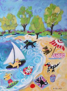 Daytime Dogs Painting by Karen Fields