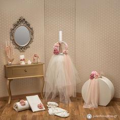Σετ Βάπτισης Λουλουδένιο Στεφάνι Girls Dresses, Flower Girl Dresses, Christening, Baptism Ideas, Candles, Wedding Dresses, Celebrities, Fashion, Dresses Of Girls