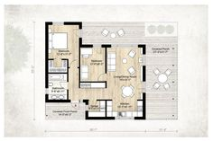Modern Style House Plan - 2 Beds 1.00 Baths 850 Sq/Ft Plan #924-3 Floor Plan - Main Floor Plan