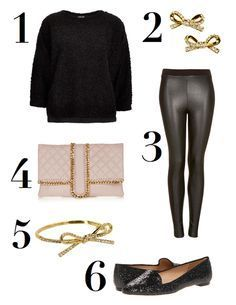 Fluffy sweater, bow jewels, pink quilted clutch...