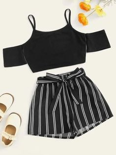 Girls Cold Shoulder Cami Top & Vertical-stripe Shorts Set Check out this Girls Cold Shoulder Cami Top & Vertical-stripe Shorts Set on Shein and explore more to meet your fashion needs! Summer Shorts Outfits, Teenage Girl Outfits, Crop Top Outfits, Kids Outfits Girls, Girls Fashion Clothes, Cute Outfits For Kids, Teenager Outfits, Teen Fashion Outfits, Cute Casual Outfits
