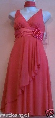 New Coral Chiffon Vneck Rosette Maternity Dress LARGE Cocktail Formal Dresses LG