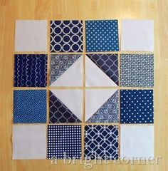 Quilt Block Tutorial–The Scrappy Susannah. Nice with Sashiko fabric or Sashiko embroidered blocks. Patchwork Quilting, Scrappy Quilts, Easy Quilts, Mini Quilts, Patchwork Jeans, Blue Quilts, Quilting Tutorials, Quilting Projects, Quilting Designs