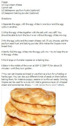 Oopsies Bread, Bread without carbs. Just eggs, cream cheese, cream of tartar, salt  and baking powder!: