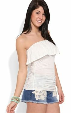 Deb Shops Strapless Flutter Top with Ruched Sides $8.25