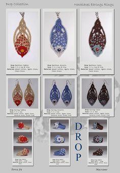 Drop Nacklace, Earing & Ring; Terra Fu Macrame; Sabbia, Azzurro, Cuoio