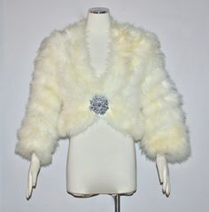 61a0adfcf08 Gorgeous Cream Ostrich Marabou VINTAGE FEATHER by StatedStyle, $155.00 Ostrich  Feathers, Jacket Dress,