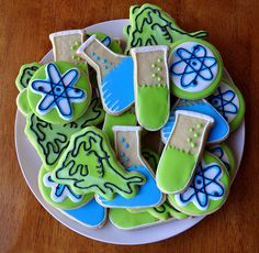 Blue and green science set cookies.  awesome!