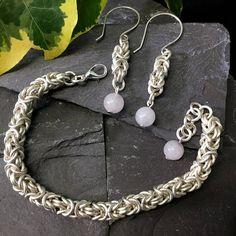 Byzantine chainmail bracelet / byzantine chainmail earrings / set / silver plated byzantine jewelry / rose quartz / sterling silver hooks /