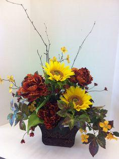 Warm sunflower custom floral by Bluebucketful