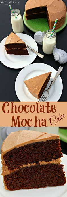 Coffee Lover's Chocolate Mocha Cake ~ Rich chocolate cake with a hint of coffee topped with a fluffy mocha buttercream. ~ The Complete Savorist