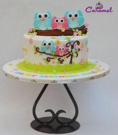 Cute Owl cake by Caramel Doha