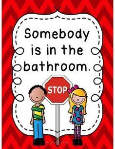 Classroom Bathroom Signs - Stop / Go, 12 Options!