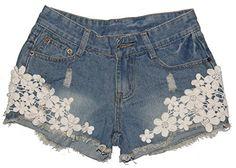 Casual Vintage Womens Lace Flower Jean Shorts Short Pant Trouser Cut-Off Denim (M) MrSleeper http://smile.amazon.com/dp/B00KNXFN4M/ref=cm_sw_r_pi_dp_BTJ9ub0Q720B4