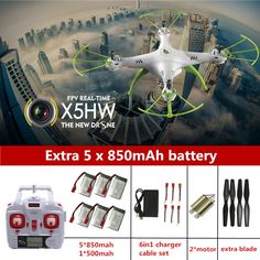 76.90$  Buy here - http://alizvo.worldwells.pw/go.php?t=32693334637 - Syma X5HW FPV RC Quadcopter Drone with Camera hd WIFI FPV dron Syma X5SW Upgrade RC Helicopter with 6 battery + 6 in 1 Cable 76.90$