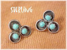 Sterling Silver - Sleeping Beauty Blue Turquoise - Zuni Snake Eye Earrings - Native American Arizona Estate - Gift Box - FREE SHIPPING by FindMeTreasures on Etsy