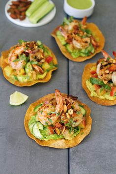 Thai Shrimp Tostadas - salty, crunchy goodness with a spicy Thai dressing & grilled shrimp. Asian Recipes, Mexican Food Recipes, Healthy Recipes, Thai Recipes, Healthy Breakfasts, Fish Recipes, Healthy Snacks, Thai Shrimp, Grilled Shrimp