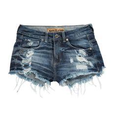 Shorts jeans com efeito 3D puídos localizados e barra desfiada.