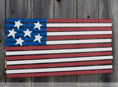 """Folk Art Yardstick Flag - A """"primitive"""" American Flag made out of yardsticks! Fun craft for the Fourth of July! Maybe just a wash of color so it looks older and then distress."""