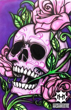 Sugar Skull Tattoos, Sugar Skull Art, Sugar Skulls, Skull Artwork, Skull Painting, Skull Drawings, Calaveras Mexicanas Tattoo, Skull Coloring Pages, Totenkopf Tattoos