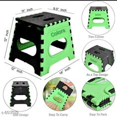 Electronic Lightings Folding Stool for Adults and Kids Bedroom & Kitchen Stool (Green) Stool  (Green, Black) Material: Plastic  Size : (L X W X H) 12 in X 11 X 9.5 Description : It Has 1 Piece Of Folding Stool Sizes Available: Free Size *Proof of Safe Delivery! Click to know on Safety Standards of Delivery Partners- https://ltl.sh/y_nZrAV3  Catalog Rating: ★4.3 (1315)  Catalog Name: Divine Home Utilities CatalogID_912478 C128-SC1314 Code: 392-6017372-