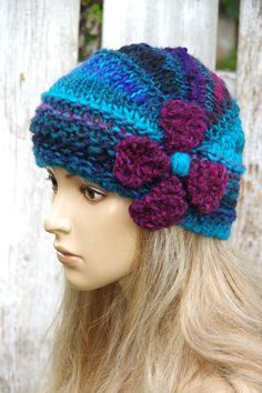 Knitted  hat  Flower Shadows Turquoise Purple Black Knitted Beanie  Women's Knitted Outerwear Women accessories Adult Teen  Comfortable