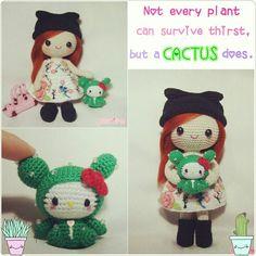 Amigurumi girl Lucy and Tokidoki Cactus Sandy