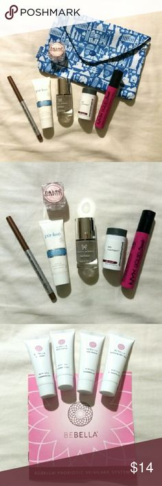 Ipsy glambag with 6 products!! +GIFT Ipsy glambag included: -Pur~lisse hydra balance moisturizer (.5oz) -Dermalogica daily superfoliant (.14oz) -Naked cosmetics mineral eyeshadow in Desert sunset -Pretty woman nail polish in I can't deal (full size) -TheBalm Mr. Write now eyeliner in Jac (full size) *SWATCHED -Nyx liquid suede lipstick in LSCL08/Pink lust (full size) *SWATCHED  +GIFT: Bebella Probiotic skincare system (samples)   ***ALL PRODUCTS ARE NEW, UNLESS STATED IN DESCRIPTION…