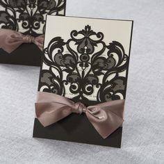 Elegant Laser Cut Half Pocket with a Bow by B Wedding Invitations Wedding Bows, Wedding Paper, Wedding Cards, Diy Wedding, Dream Wedding, Wedding Day, 1920s Wedding, Wedding Stuff, Wedding Invitation Card Design