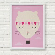 Dreamy hot air balloon kitty nursery art print