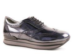 Hogan H222 metallic-effect leather wingtip sneakers - Italian Boutique €224
