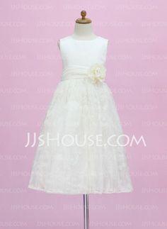 Flower Girl Dresses - $99.49 - A-Line/Princess Scoop Neck Floor-Length Satin  Lace Flower Girl Dresses With Sash (010005340) http://jjshouse.com/A-line-Princess-Scoop-Neck-Floor-length-Satin--Lace-Flower-Girl-Dresses-With-Sash-010005340-g5340